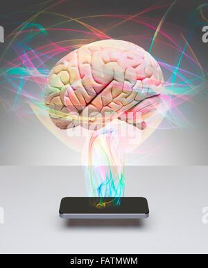 Human brain communicating with smart phone - Stock Photo