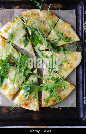 flat bread with cheese, pizza top - Stock Photo