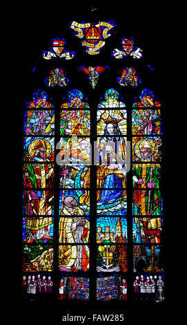 Liege, Belgium. Cathedrale St Paul. Modern Stained glass window (Gustave Monzee - 1950) in the Chapelle de la Vierge - Stock Photo