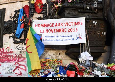 November 18th, 2015 - Paris  Place de la Republique after the Paris terror attack.  Paris terror attack leaves up - Stock Photo