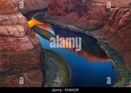Colorado River at sunrise, Horse Shoe Bend, Page, Arizona, USA - Stock Photo