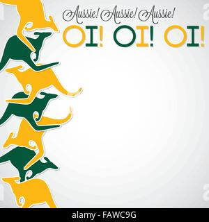 Kangaroo line Australia Day card in vector format. - Stock Photo