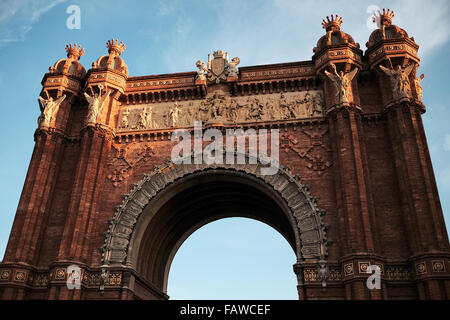 Arc de Triomf, or Arco de Triunfo, in Barcelona. Memorial or triumphal arch. It was built as the main access gate - Stock Photo
