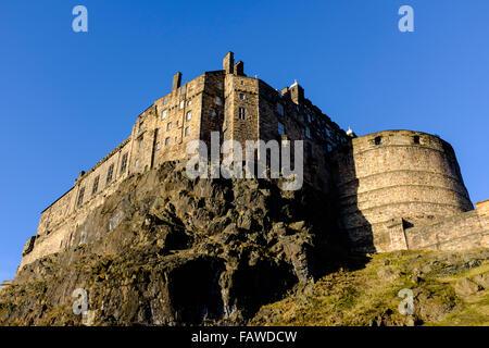 View of Edinburgh Castle on blue sky winer day in Scotland - Stock Photo