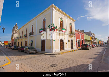 A typical street corner in the colourful colonial city of San Francisco de Campeche, Mexico - Stock Photo
