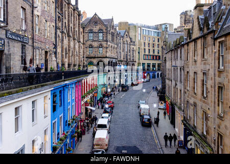 Looking down on historic Victoria Street in Old Town of Edinburgh Scotland United Kingdom - Stock Photo