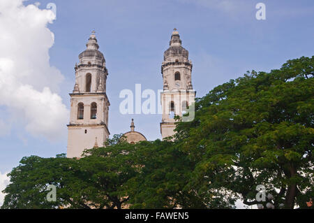 The bell towers of the cathedral (catedral) in the colonial city of San Francisco de Campeche, Mexico - Stock Photo