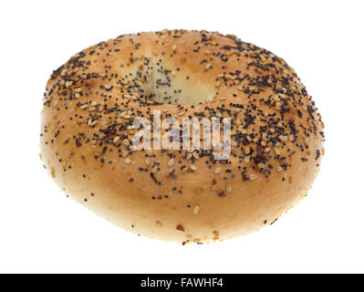 A bagel with several different types of seasonings isolated on a white background. - Stock Photo