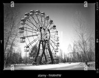 Impressions from Pripyat, a ghost town in the Ukraine, which was established in 1970 in connection with the construction - Stock Photo