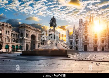 Duomo at sunrise, Milan, Italy Europe. - Stock Photo