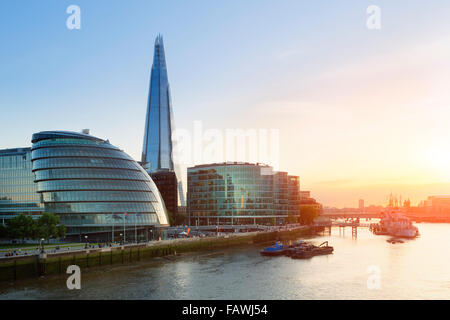 London, The shard and city hall at sunset - Stock Photo