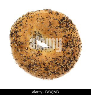 Top view of a bagel with several different types of seasonings isolated on a white background. - Stock Photo
