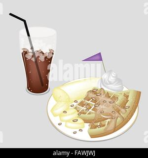 Coffee Time, A Glass of Iced Coffee or Cola Served With Waffle and Sliced Banana, Syrup, Chocolate Chips, Whipped - Stock Photo