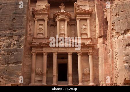 Al Khazneh / The Treasury in the ancient city of Petra in southern Jordan - Stock Photo