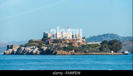 Prison island of Alcatraz in San Francisco Bay, San Francisco, California, USA - Stock Photo