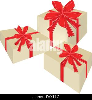 Illustration of Three Lovely Gift Boxes with Red Ribbon and Bow, A Perfect Gift or Present for Someone Special. - Stock Photo