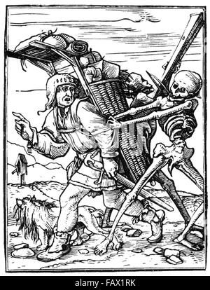 HANS HOLBEIN  THE YOUNGER (c 1497-1543)  Woodcut of The Peddler from his 1538 Dance of Death series - Stock Photo