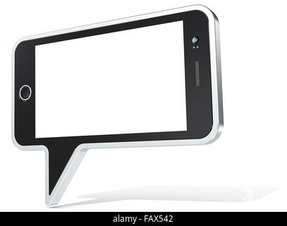 Speech Bubble with Smartphone design elements. Non branded Generic Design. Blank for Copy Space. - Stock Photo