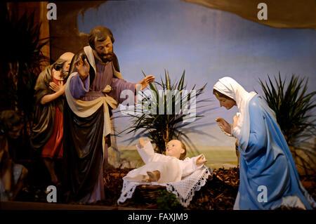 Traditional Nativity scene in a church in Ireland - Stock Photo