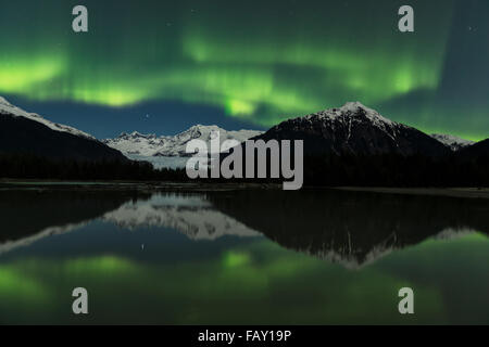 Northern Lights over Mendenhall Lake and Tongass National Forest, Juneau, Southeast Alaska - Stock Photo