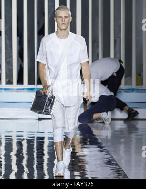 NEW YORK, NY - JULY 14, 2015: August Gonet walks the runway during rehearsal for the Rochambeau show at NYFW Men's - Stock Photo