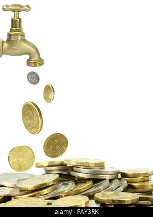 a tap pouring out coins on white background - Stock Photo