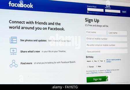 Facebook Social Networking Website on the screen. One of the biggest internet social networks - Stock Photo