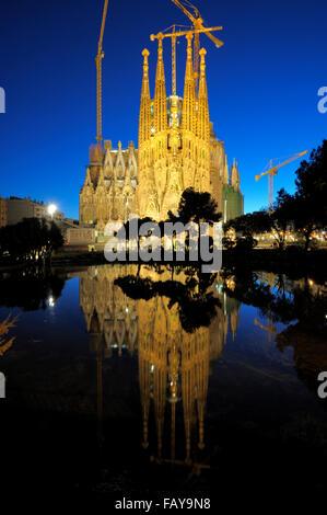 Temple de la Sagrada Familia and Placa de Gaudi, L'Eixample, Barcelona, Catalunya, Spain - Stock Photo
