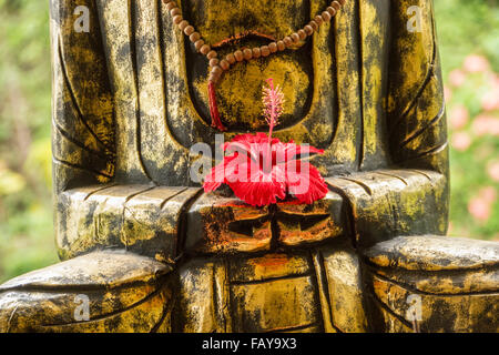 Indonesia, Tejakula, Bali, Hibiscus Flower on Buddha statue - Stock Photo