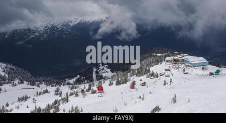 Ski hill and gondola; Whistler, British Columbia, Canada - Stock Photo
