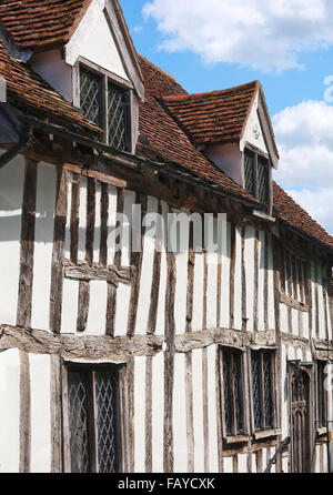 Quaint half-timbered house in an English village; Lavenham, Suffolk, England - Stock Photo