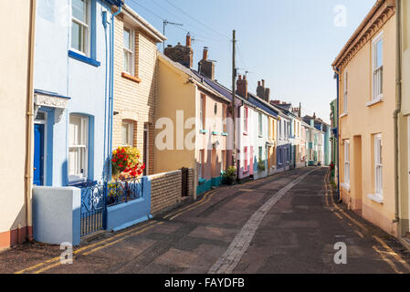 Multi-Coloured, Terraced Houses on a Street in Appledore, North Devon, UK - Stock Photo