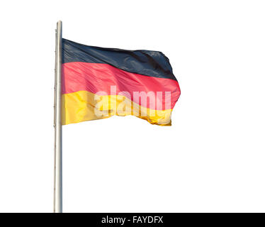 The German flag flying on a metal pole, isolated on a white background - Stock Photo