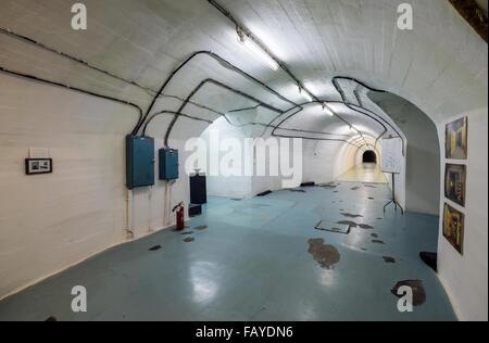 Main corridor in bunker of Josip Tito, leader of former Yugoslavia, near Konjic in Bosnia and Herzegovina, completed - Stock Photo