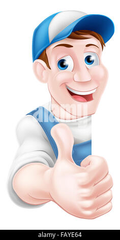 Thumbs up cartoon mechanic, plumber, handyman, decorator or gardener - Stock Photo