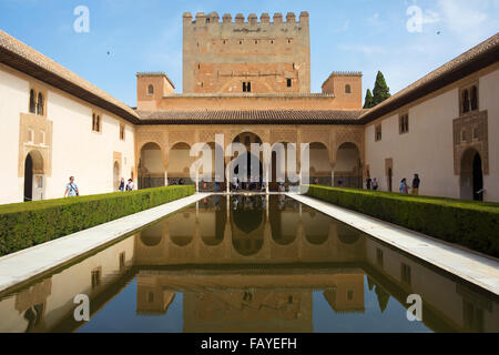 Court of the Myrtles (Patio de los Arrayanes) of Nasrid Palace in the Alhambra Palace; Malaga, Spain - Stock Photo