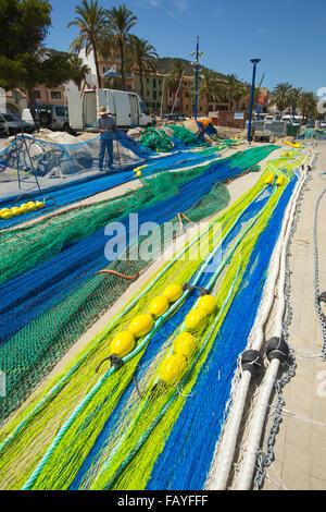 Fishing nets at the harbour; Favignana, Trapani Province, Sicily - Stock Photo