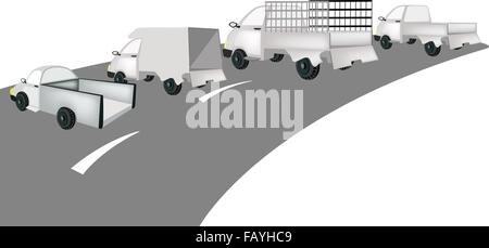 Illustration Collection of Pickup Truck and Delivery Van on The Road for Trucking Products and Materials, Ready - Stock Photo