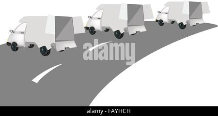 Illustration of Three Delivery Van on The Road for Trucking Products and Materials, Ready for Shipping or Delivery. - Stock Photo