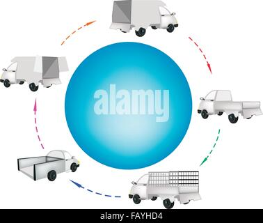 Various Type of Pickup Truck and Delivery Van Around A Blue Circle Banner for Trucking Products and Materials, Ready - Stock Photo