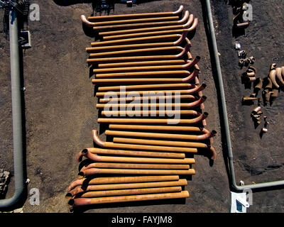 Pipes at The Hellisheidi Geothermal Power Plant, Iceland - Stock Photo