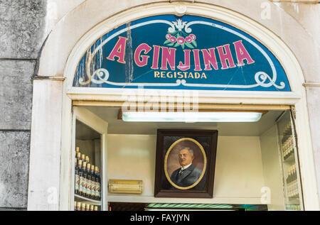 traditional cherry liquor bar a ginjinha, lisbon, portugal - Stock Photo