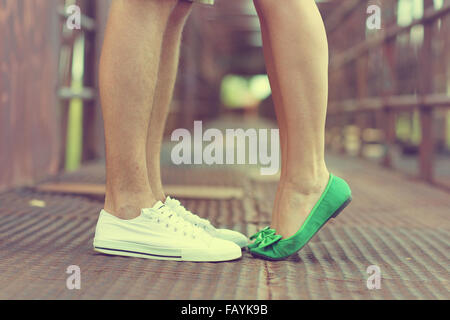 man and woman legs with shoes on - Stock Photo