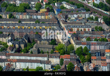 Aerial view, block building, rental housing, affordable housing in the city center, residential development Langestraße - Stock Photo