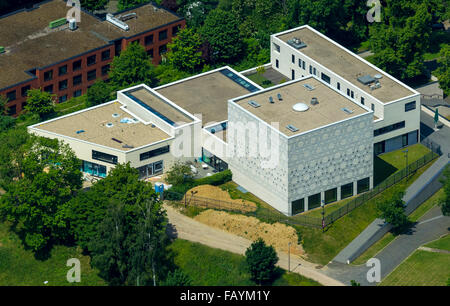 Aerial view, synagogue Bochum, Religion, Judaism, God's house, modern architecture, Bochum, Ruhr area, North Rhine - Stock Photo