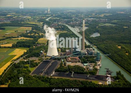 Aerial, Biological Station Bergkamen-Heil, power plant Bergkamen healing and cooling tower, Bergkamen, Ruhr area, - Stock Photo
