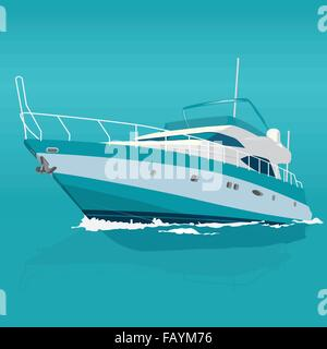 Nice blue motor boat on sea – fishing on a ship – background for poster - flatten isolated illustration master vector - Stock Photo