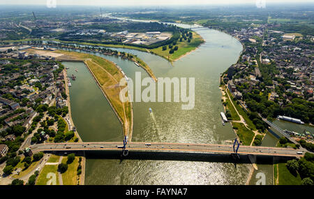 Aerial view, Rheinorange, river estuary of the Ruhr into the Rhine, influence of the Rhine-Herne Canal to the Rhine, - Stock Photo