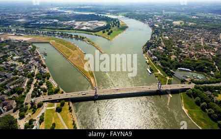 Aerial view, Rheinorange, estuary of the Ruhr into the Rhine, influence of the Rhine-Herne Canal to the Rhine, Duisburg, - Stock Photo