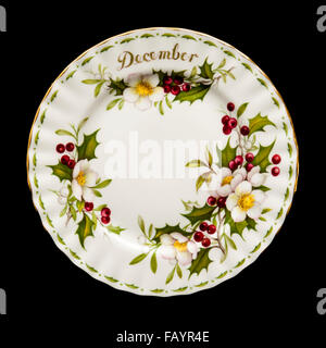 Vintage Royal Albert porcelain 'December' plate (Flowers of the Month series) from 1970 - Stock Photo